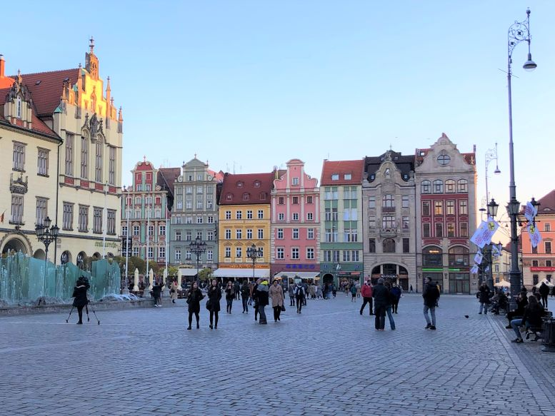 Colorful buildings of Wroclaw, Poland's main market square
