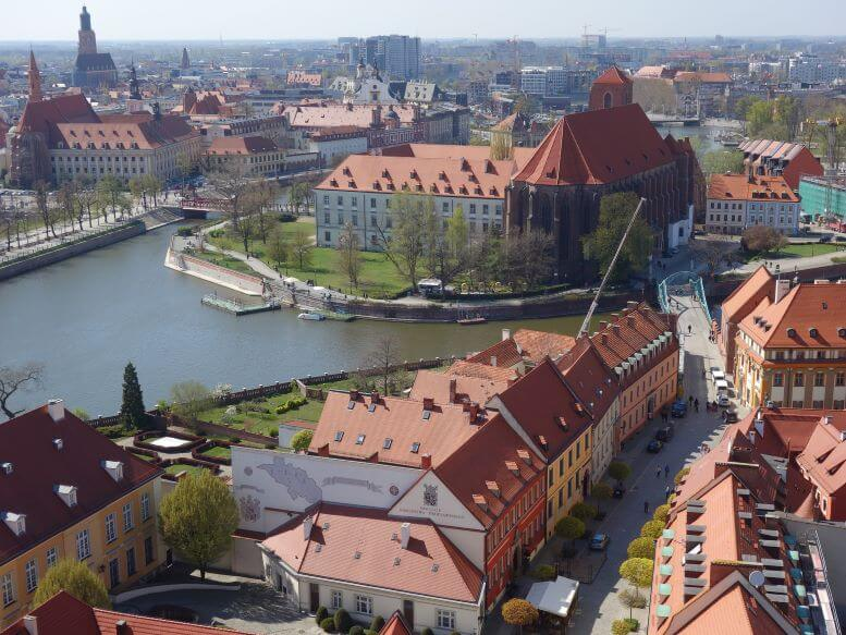 View of Ostrow Tumski (Cathedral Island) from the top of Cathedral of St. John the Baptist in Wroclaw, Poland