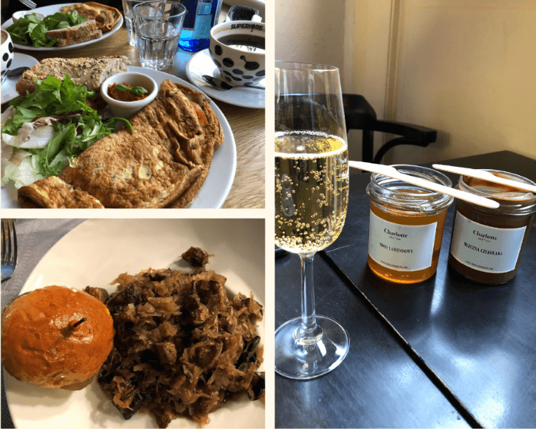 Omelets at Giselle, Sparkling wine, chocolate and honey at Charlotte, Bigos at Sukiennice 7 in Wroclaw, Poland