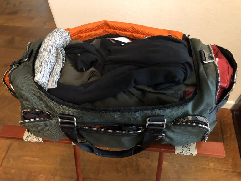 Packed duffel bag