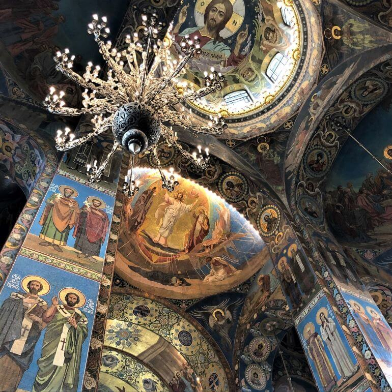Gorgeous mosaics of the Church of the Savior on Spilled Blood in St. Petersburg, Russia