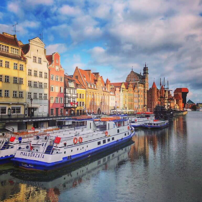 Boats on the river in Gdansk. Poland