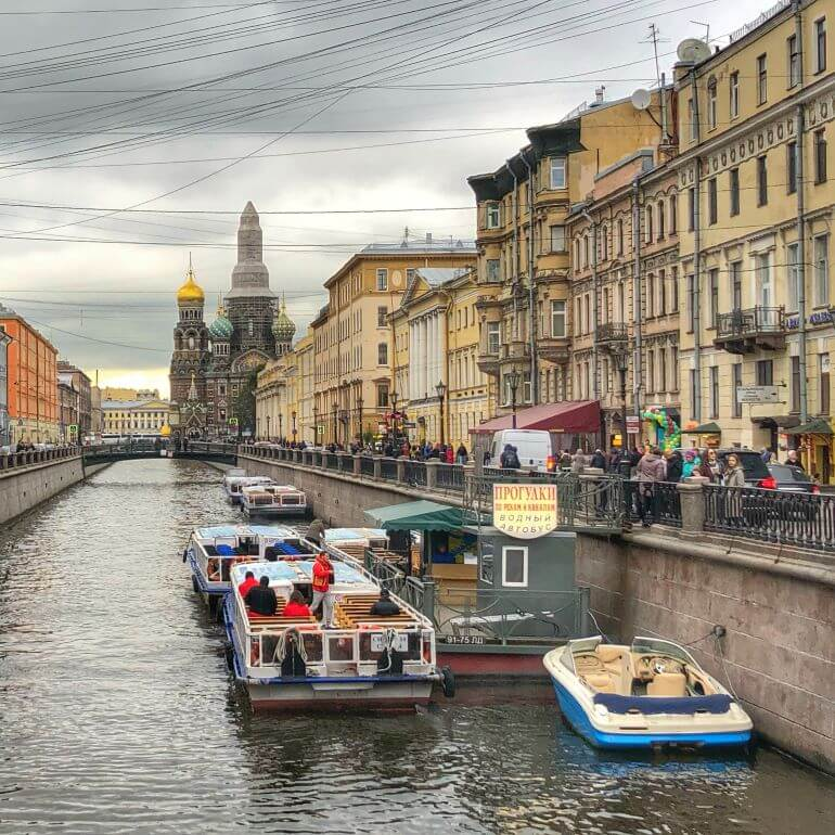 Boats on a canal in St. Petersburg, Russia