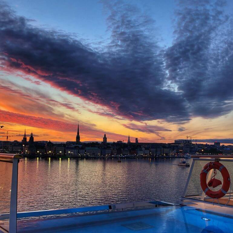 Sunset in Stockholm, Sweden seen from the Viking Jupiter