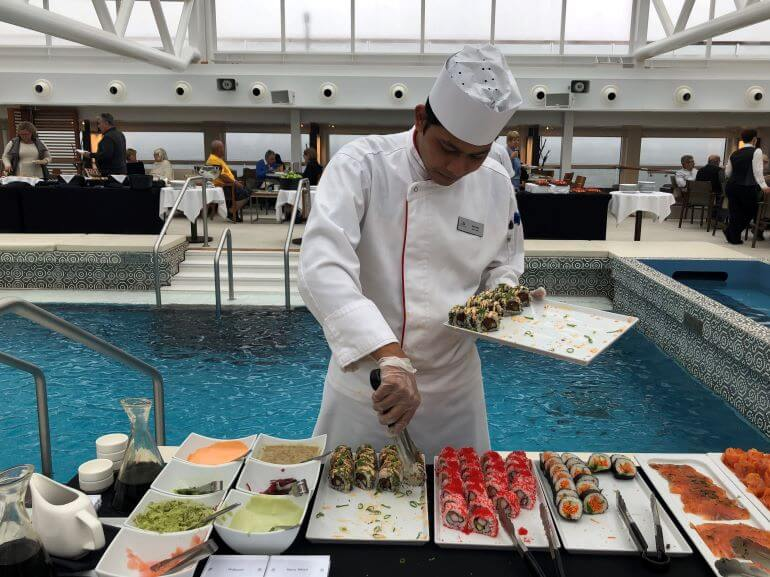Sushi bar at Pool deck brunch on the Viking Jupiter during a Viking Homelands cruise on the Baltic