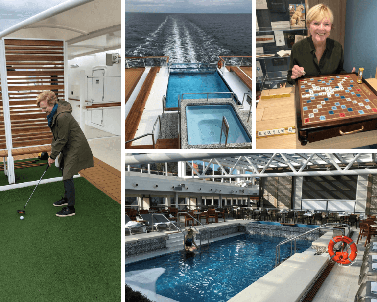 Pools, sports deck, and Scrabble game on board the Viking Jupiter