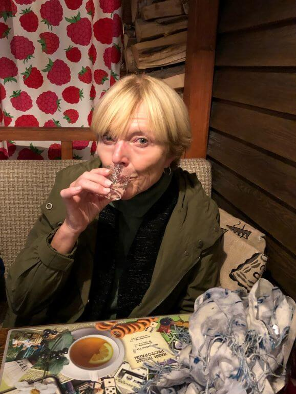 Drinking vodka in a Russian cafe in St Petersburg, Russia during a Viking Homelands cruise onthe Baltic Sea