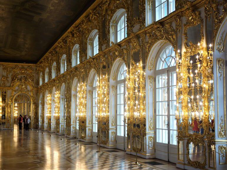 The Great Hall of Catherine Palace lined with mirrors and chandeliers -- Tsar's Village, St. Petersburg, Russia