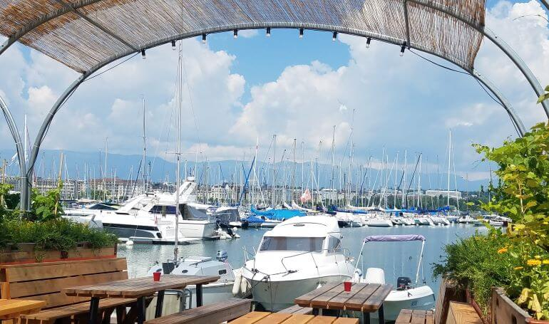 Harbor view from the café at the beach in Geneva, Switzerland, Photo Credit -- Deborah Grossman