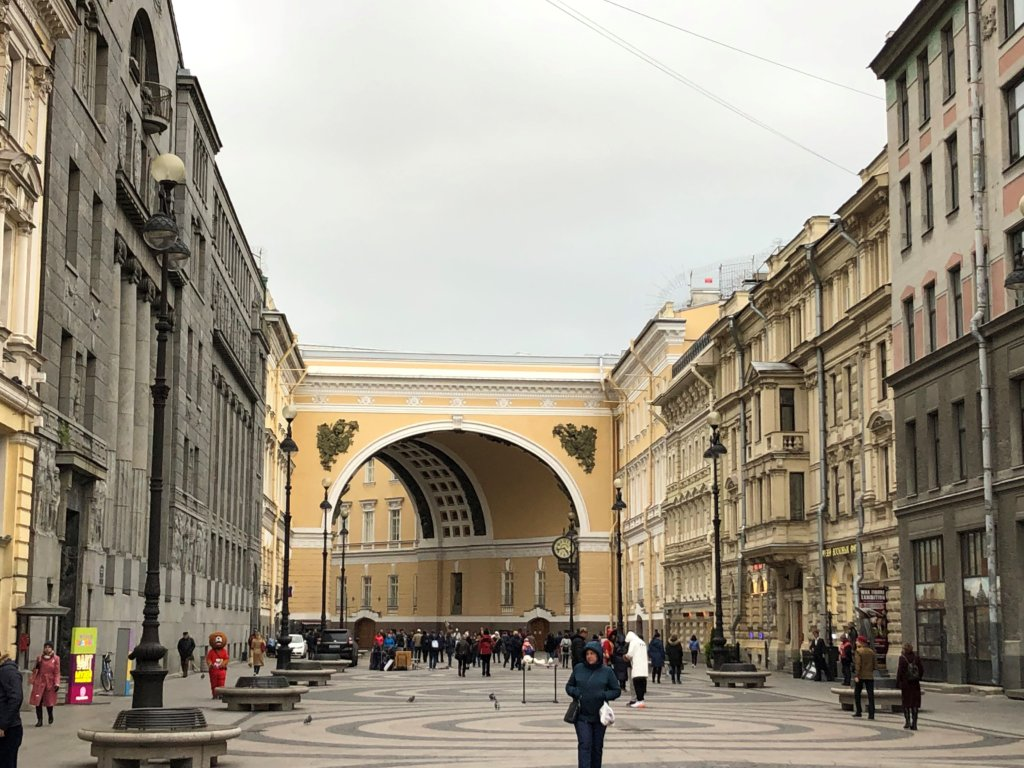 Walking tour on Nevsky Prospekt in St. Petersburg, Russia