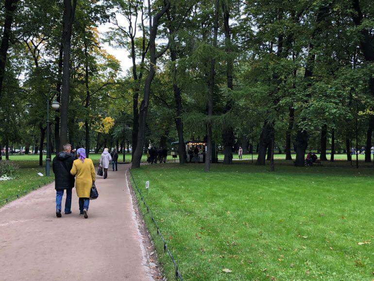 Mikhailovsky Garden in St. Petersburg, Russia