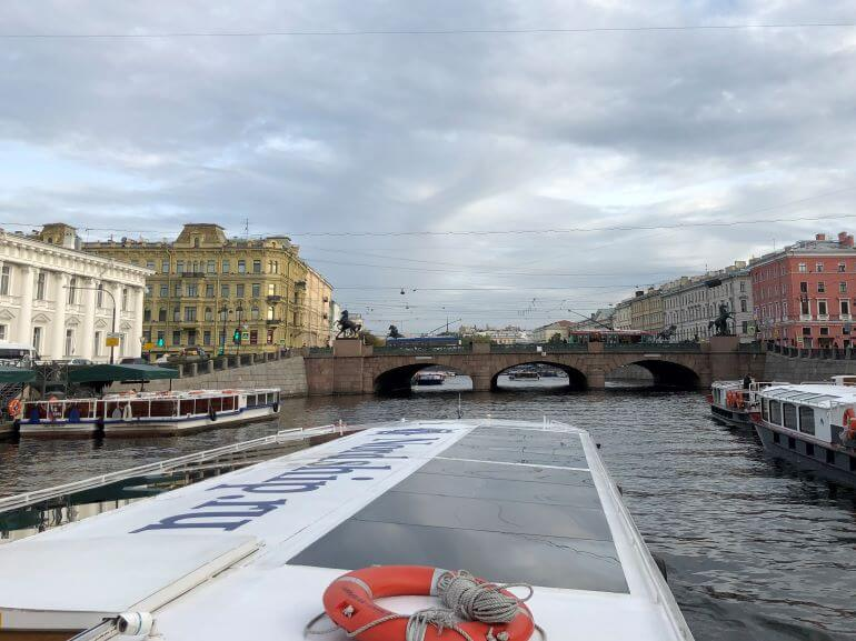 On the tour boat on the Fontanka River in St.Petersburg, Russia