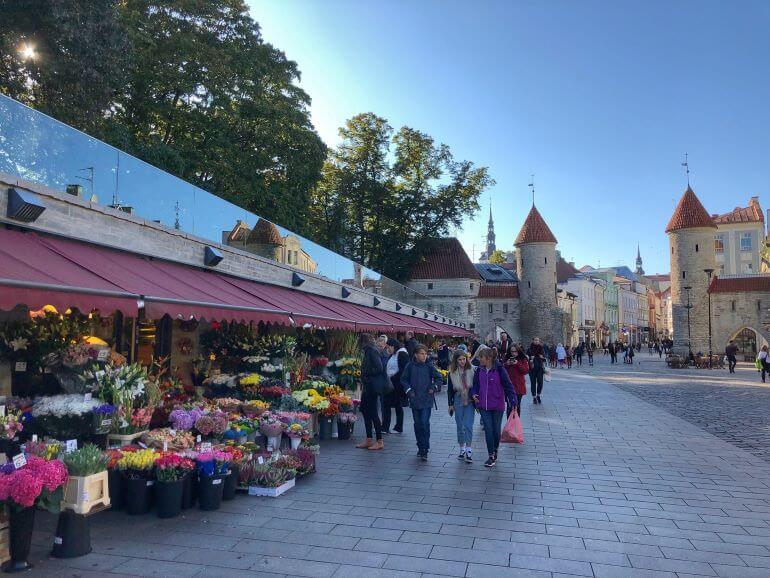 Flower market outside of Old Town Tallinn, Estonia