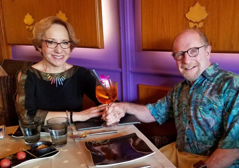 The Grossmans at  Patara Thai restaurant in the Beau-Rivage Hotel in Geneva, Switzerland