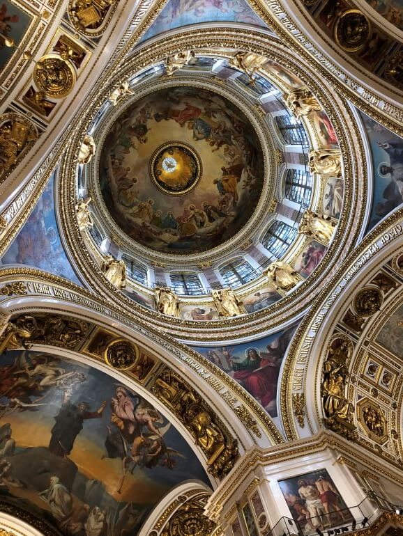 Looking up to the dome in St. Isaac's Cathedral in St. Petersburg, Russia