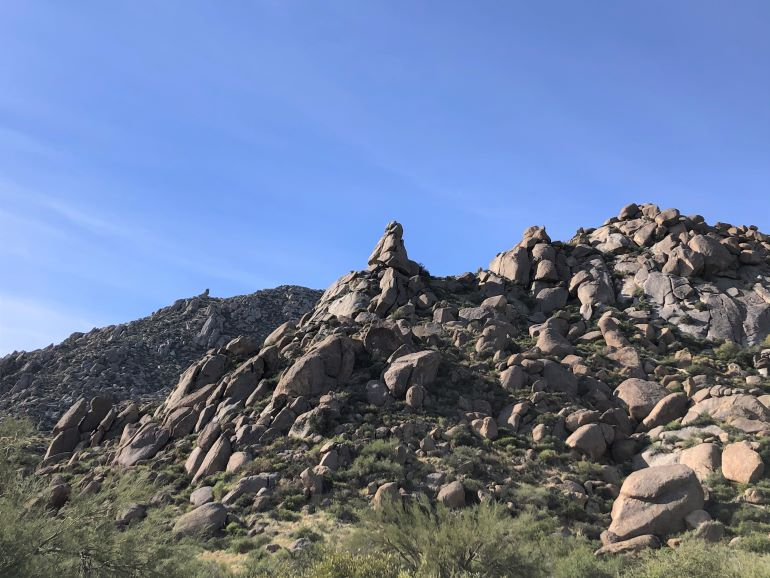 Hills of boulders are common sights along the Marcus Landslide Trail at Tom's Thumb Trailhead in Scottsdale, Arizona
