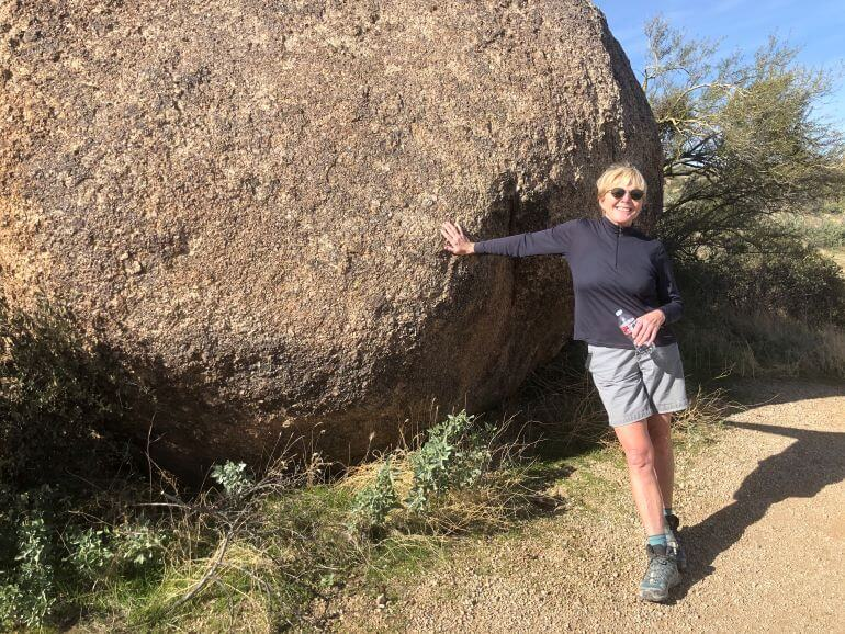 Catherine Sweeney of Traveling with Sweeney on the Marcus Landslide Interpretive Trail in Scottsdale, Arizona