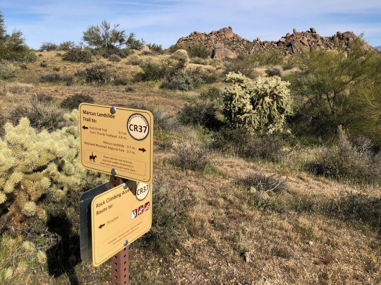 Marcus Landslide Trail is a well-marked trail with directional and informational signs along the way, Scottsdale, Arizona