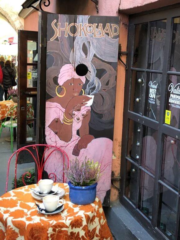 A chocolate cafe in Old Town Tallinn, Estonia