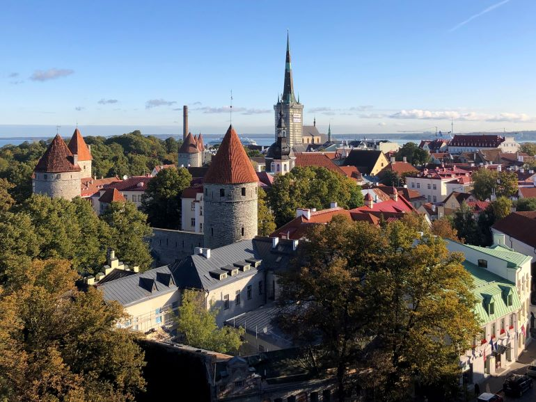 View of Town wall and towers from a vista point in Tallinn, Estonia