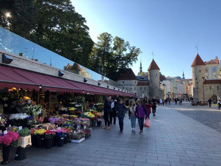 Flower market at the entrance of Viru Gate in Tallinn, Estonia