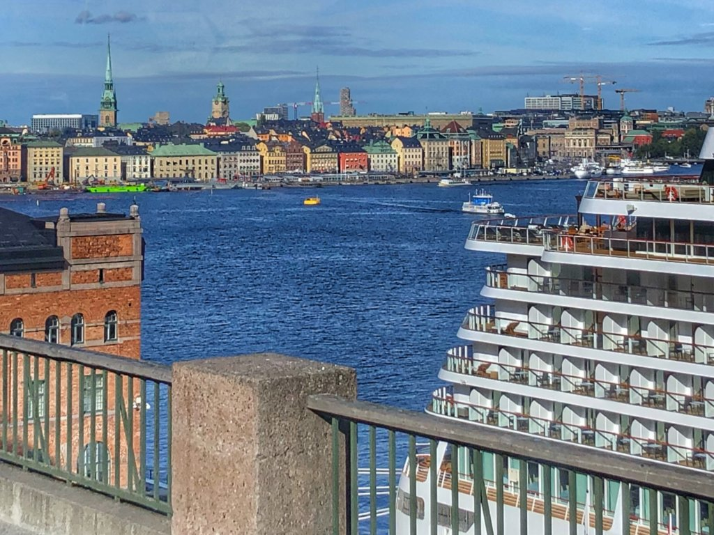 View of ship and Stockholm skyline on a Viking Baltic cruise shore excursion