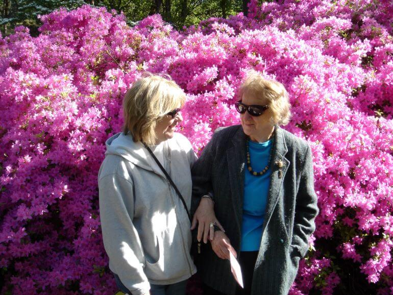 Carole Terwilliger Meyes with her mom at Hendricks Park Rhododendron Garden in Eugene, Oregon