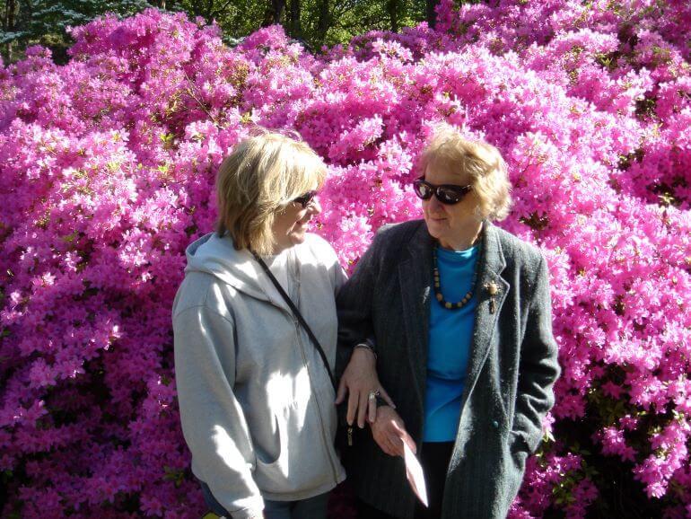 Carole Terwilliger Meyes with her mom at Hendricks Park Rhododendron Garden in Eugene, Oregon