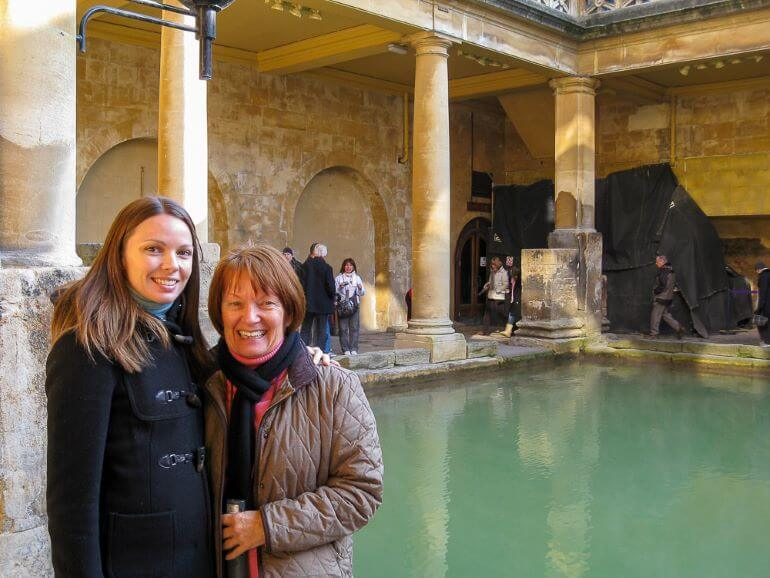 Julie Falconer of A Lady in London with her mother in Bath, England -- Photo courtesy of Julie Falconer