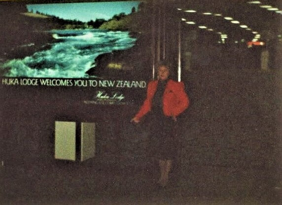 Valerie Delzer's mother at Auckland, New Zealand airpot -- Photo courtesy of Valerie Delzer