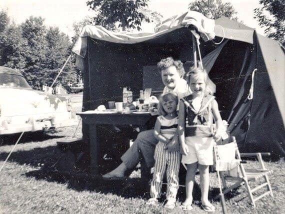 Catherine Sweeney with her mom and sister Chris at a campground in Canada 1960s