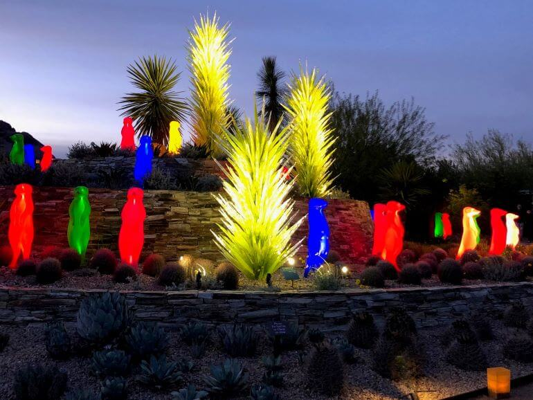 Colorful light displays at the Desert Botanical Garden in Phoenix, Arizona
