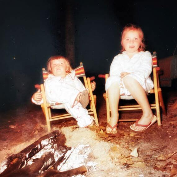 Sitting around the campfire, Lake Manistee, Michigan -- about 1960