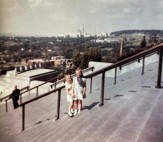 On the steps of Saint Joseph's Oratory of Mount Royal, Montreal, Quebec - 1961