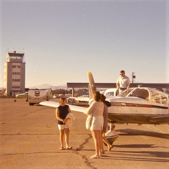 Ready to board a Piper Cherokee at Sonoma County Airport, Santa Rosa, California about 1970