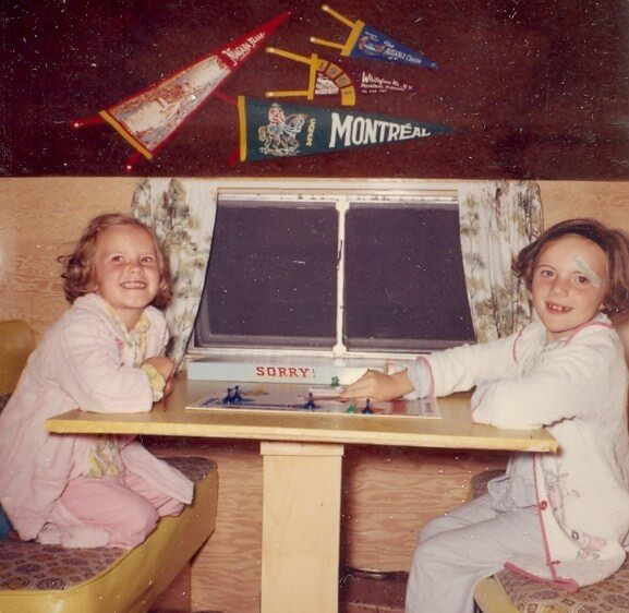 Inside family's homemade camping trailer -- Albuquerque, New Mexico -- early 1960s
