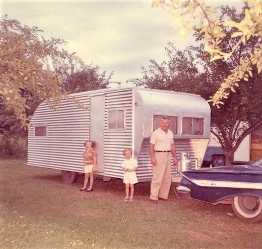 Family travel in homemade trailer 1961 -- Ontario, Canada
