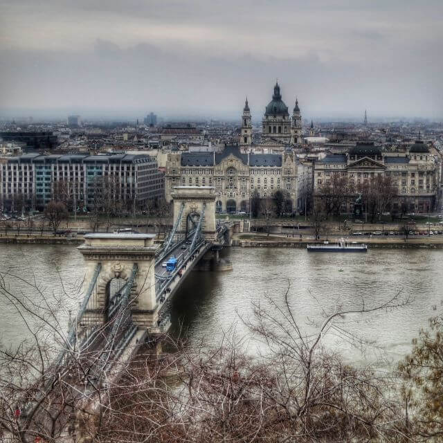 Budapest, Hungary -- view of the Pest side of the city and Four Seasons Gresham Palace and St. Stephen's Basilica from Castle Hill on the Buda side