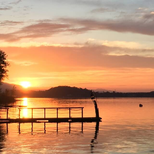 Sunrise on Lake Maggiore in the Lombardy region of Italy