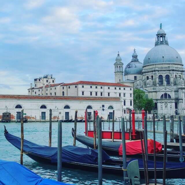 Gondolas on the canal in Venice, Italy