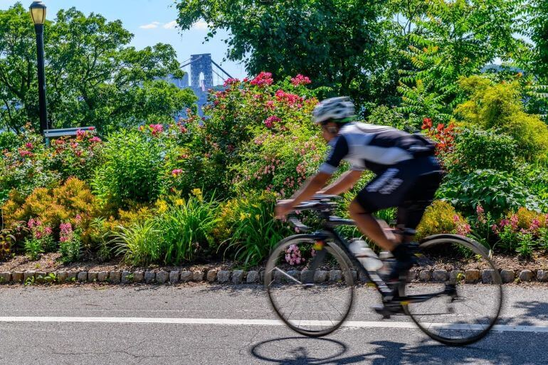 Bicyclist in Fort Tryon, Upper Manhattan, New York City -- Photo courtesy of Barbara Nelson