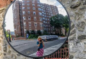 Photographer Barbara Nelson, self-portrait, Upper Manhattan