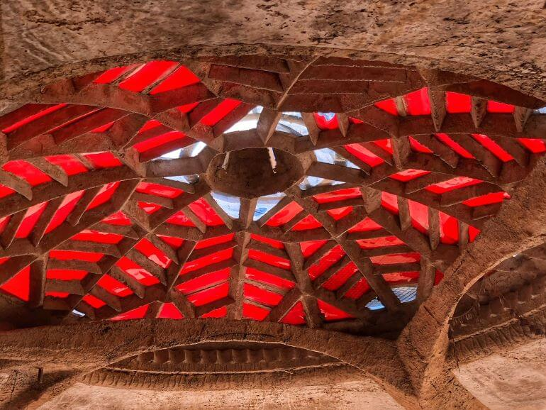 Red dome ceiling in structure at Cosanti Originals in Paradise Valley, AZ