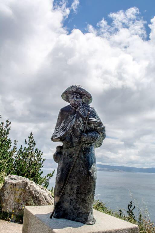 Pilgrim statue on the Camino de Santiago in Finisterre, Spain -- Photo courtesy of Barbara Nelson