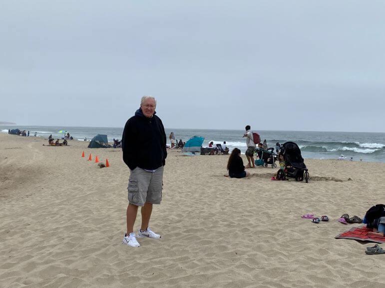 Mr TWS on the beach in Half Moon Bay, California