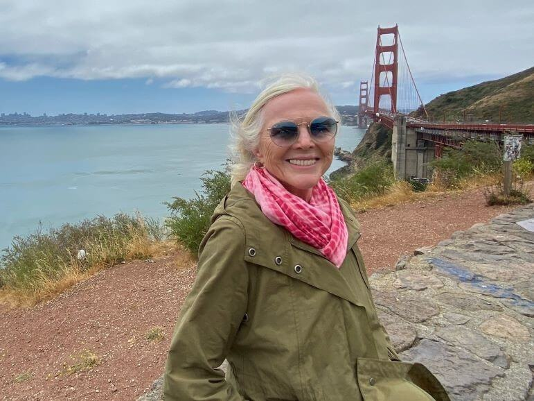 Cathy Sweeney at Vista Point on the north end of the Golden Gate Bridge in San Francisco, California