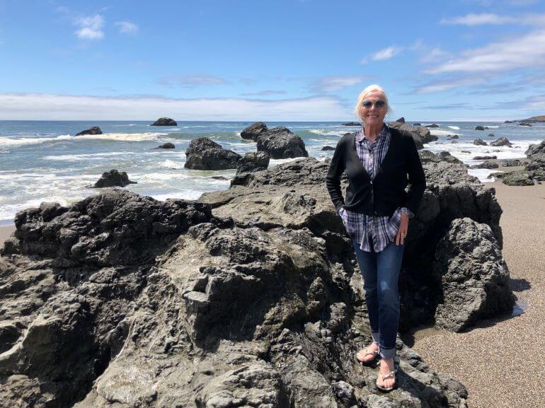 Cathy Sweeney on the Sonoma coast of Northern California