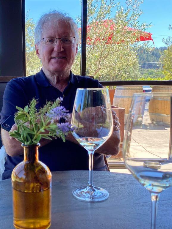 A satisfied wine tasting guest at Mauritson Winery in Dry Creek Valley, Healdsburg, California