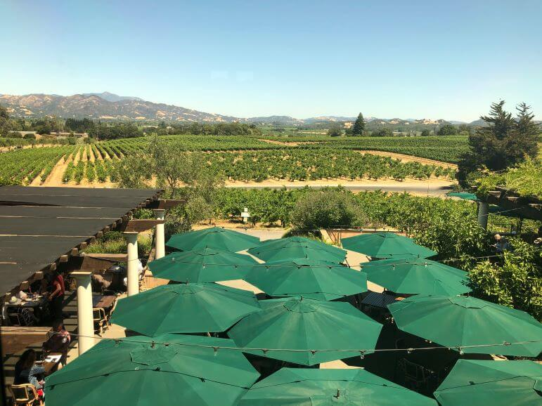 View over the patio restaurant from Coppola Winery, Geyserville, California