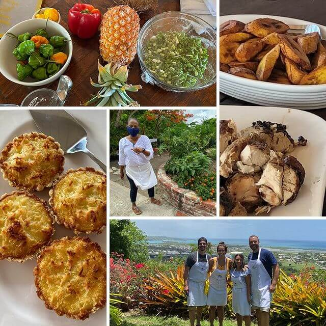 Photos of dishes, ingredients and chefs in training at Nicole's Table Cooking Class in Antigua